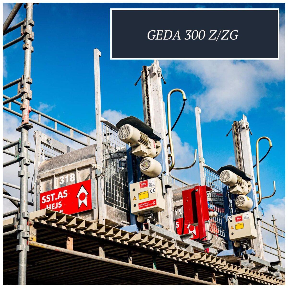 GEDA 300Z/ZG Materialehejs til transport af materialer. Velegnet som skakthejs til montering i elevatorskakt