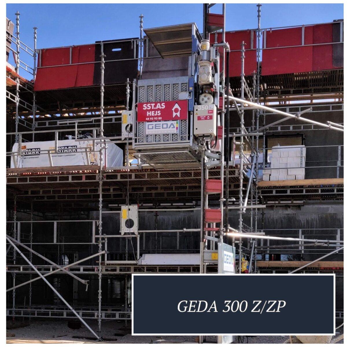 GEDA 300 Z ZP hejs Materialehejs og personhejs til transport af materialer. Velegnet som skakthejs til montering i elevatorskakt og kan anvendes til facaderenoveringer ved byggepladser