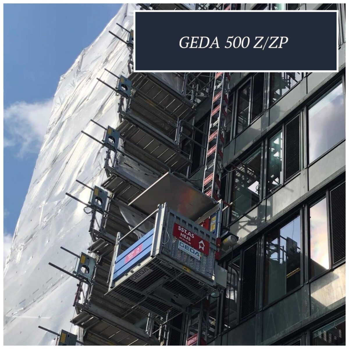 Populært hejs til byggepladser - monteres stilladset GEDA 500 Z ZP Materiale/Personhejs