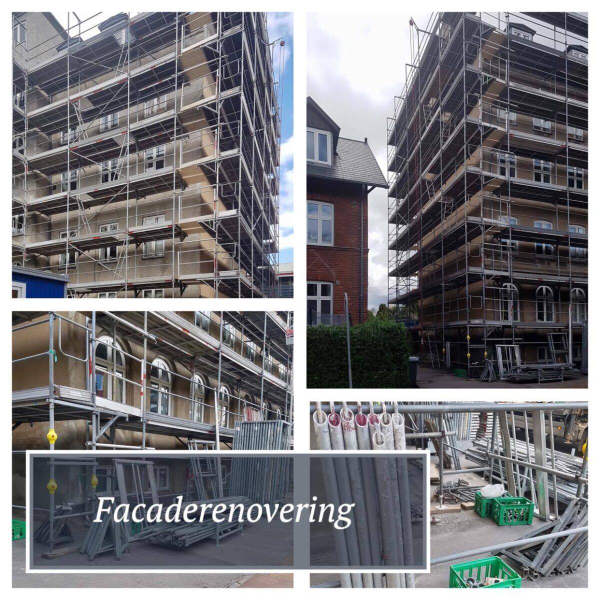 Facadestillads i svært stål til facaderenovering, hvilket kan tælle opgaver som vinduesudskiftning, rensning af nedløb, tagrender m.m.