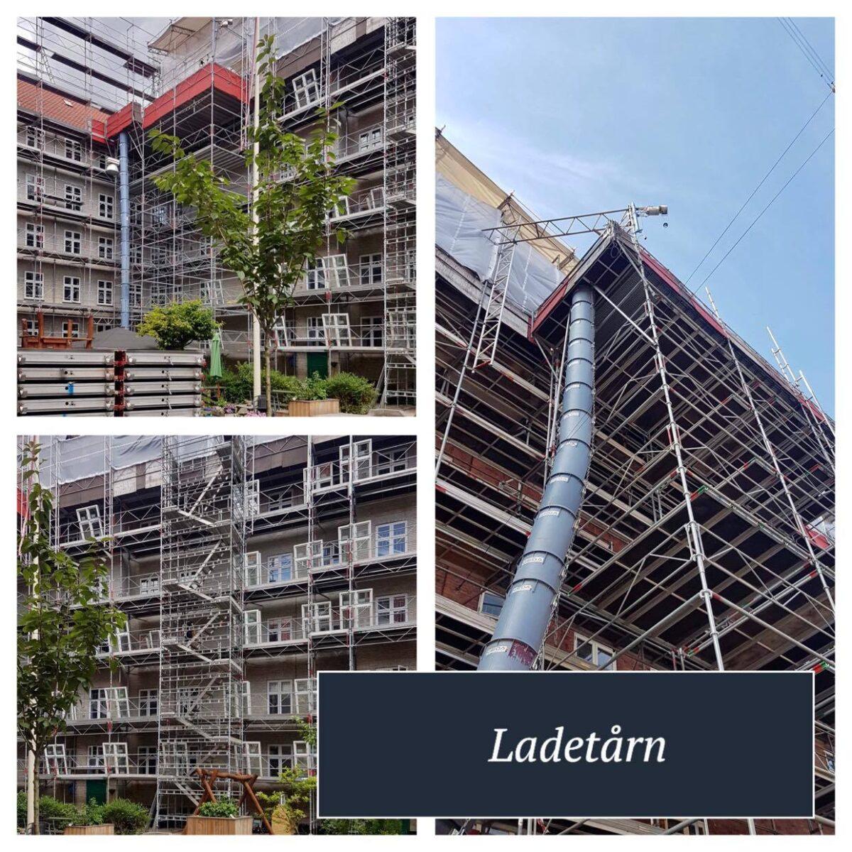 Ladetårn og materialetårn er det samme - konstruwret til et facadetillads til tungt arbejde
