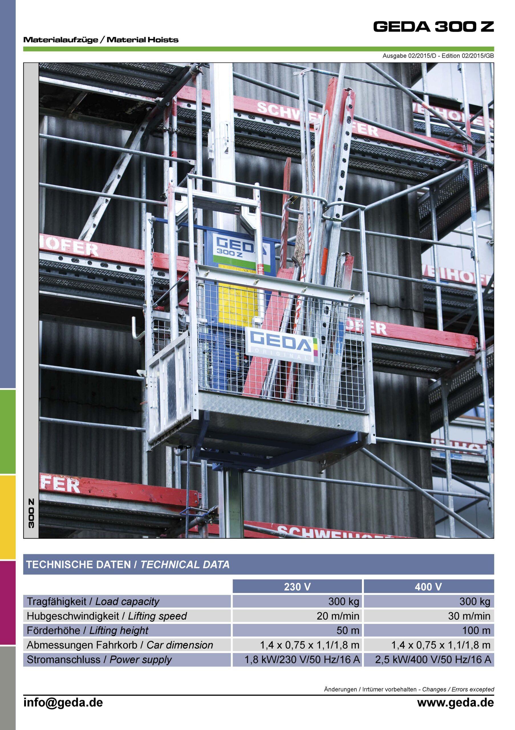 Forside til GEDA 300 datablad