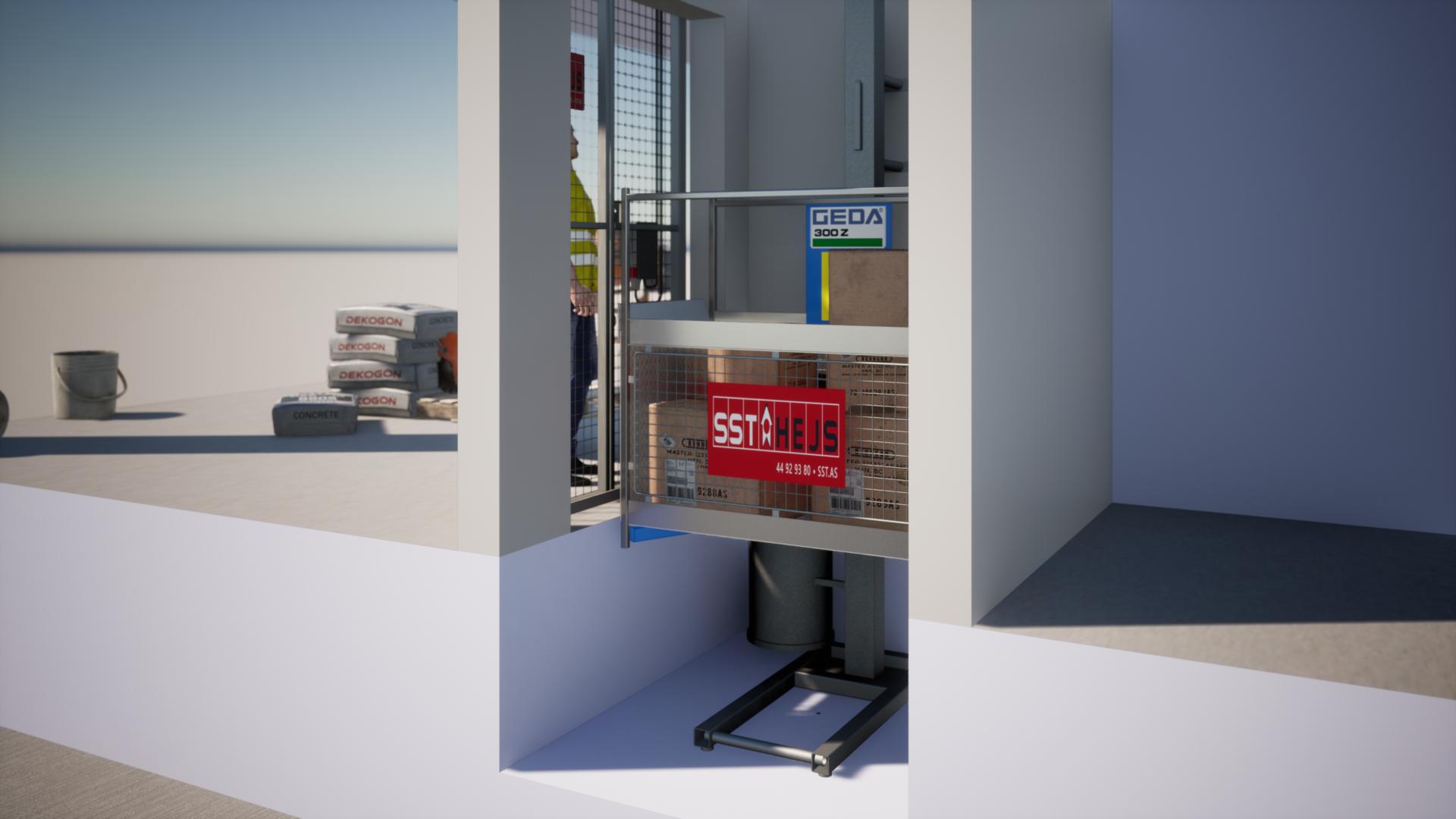 GEDA 300 monteret af SST HEJS i en elevatorskakt i et boligbyggeri med flere lejligheder. GEDA hejs er også til salg og udleje