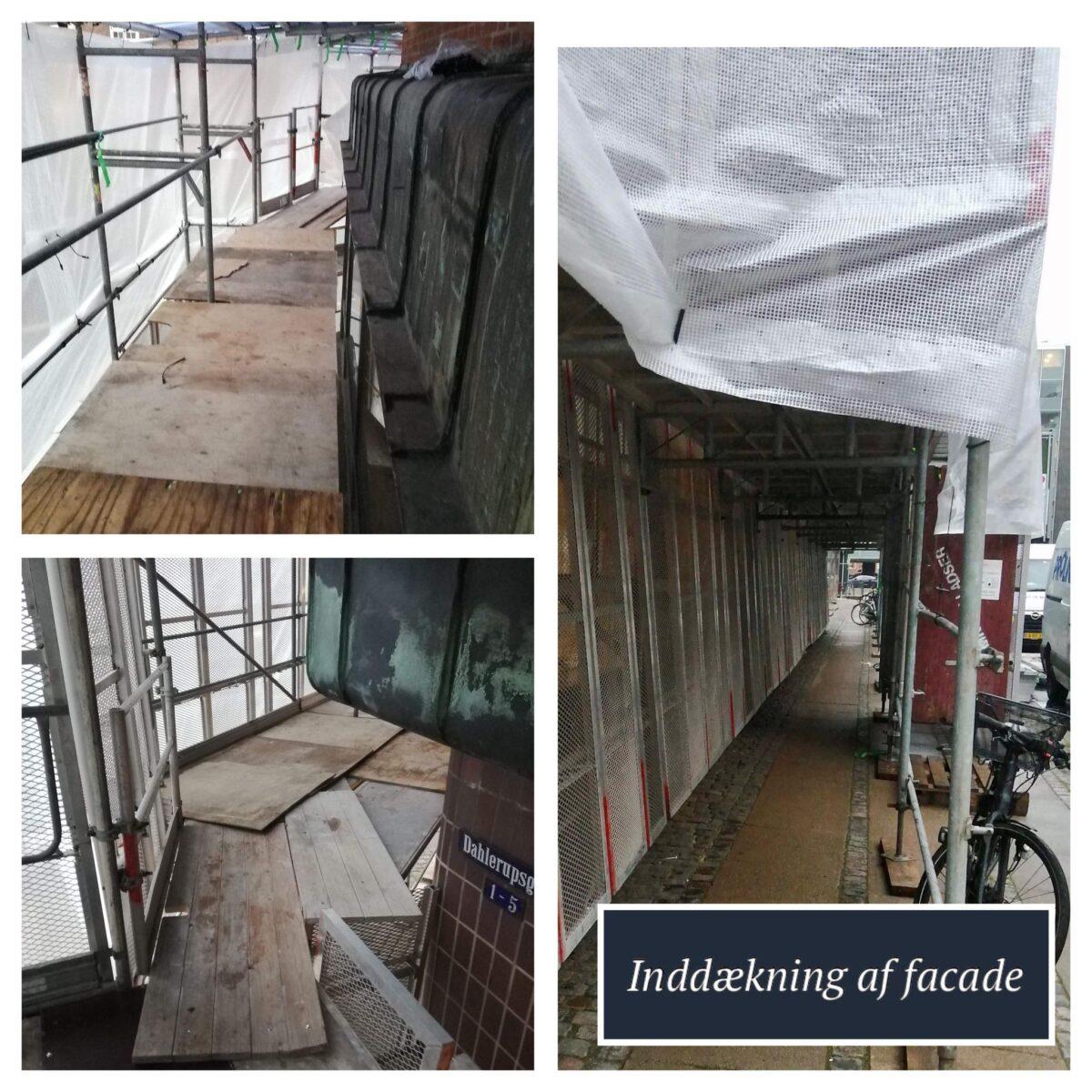 Inddækning af facade med plastik og tyveriskærm