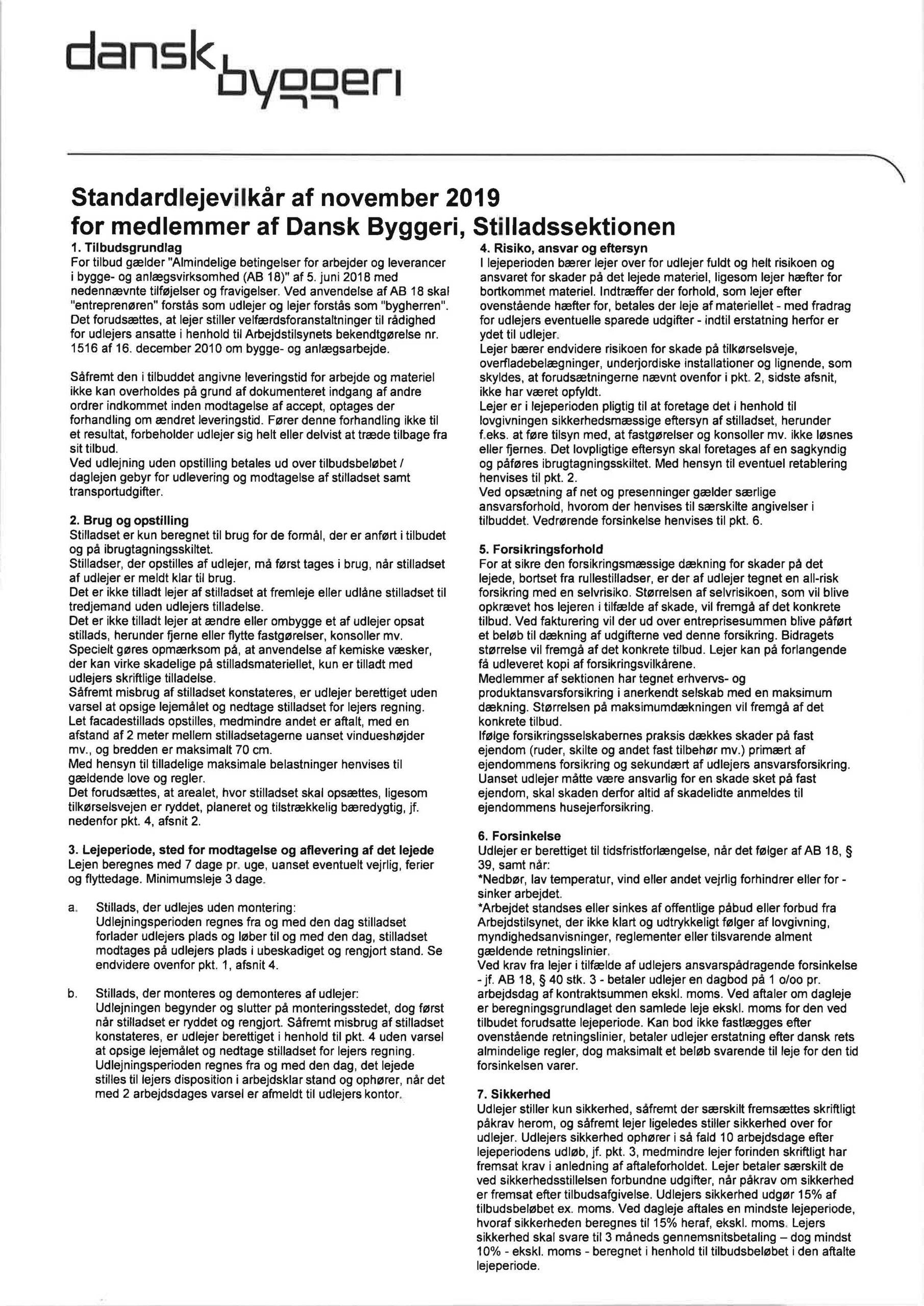 Stilladssektionens Standardlejevilkår 2019 af Dansk Byggeri