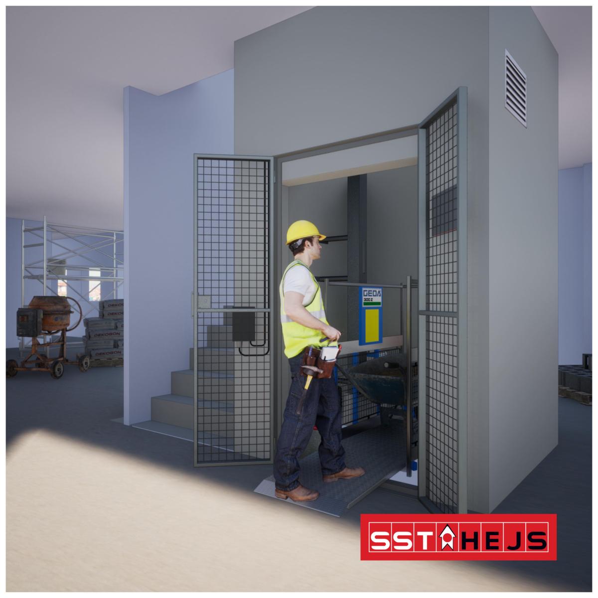 GEDA 300 Z ZG monteret i en elevatorskakt af SST HEJS