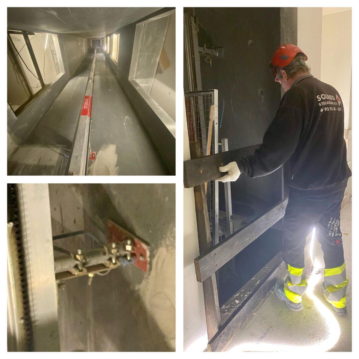 Fjerner alle låger – sætter derfor afskærmende brædder/faldsikring for alle skaktåbninger af sikkerhedshensyn
